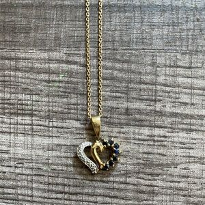 Gold Diamond and Sapphire Heart Necklace